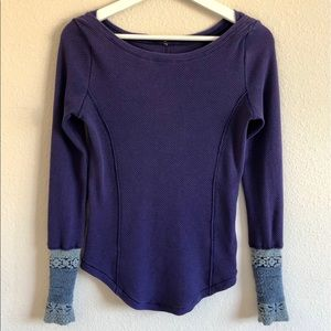 Free People Textured Thermal Long Sleeve Shirt